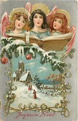 JOYEUX NOEL  three angels sing above evergreen & church below