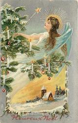 HEUREUX NOEL  angel & lighted Xmas tree above church below