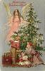 FROHLICHE WEIHNACHTSZEIT  angel in pink to left of tree, three children below