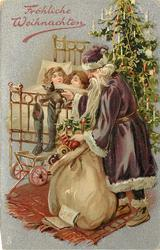 FROLICHE WEIHNACHTEN  purple robed Santa right in front of tree, two children asleep