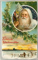 FROLICHE WEIHNACHTEN  santa in white in round insert upper right, man by fence below