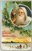 FROLICHE WEIHNACHTEN  santa in white in round insert upper right, man by fence below