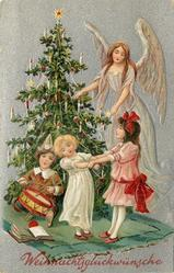 WEIHNACHTSGLUCKWUNSCHE  angel in lilac to right of tree, three children in front
