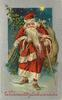 WEIHNACHTSGLUCKWUNSCHE  Santa walks front carrying tree & toys cane in his left hand