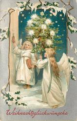 WEIHNACHTSGLUCKWUNSCHE  two angels in white, one pulls bell, other carries lighted tree