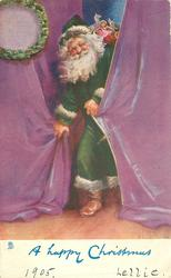 A HAPPY CHRISTMAS Santa in green comes through purple curtains basket of toys on his back