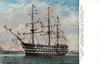 H.M.S. VICTORY, PORTSMOUTH HARBOUR, FLYING NELSON'S FAMOUS SIGNAL:- ENGLAND EXPECTS EVERY MAN TO DO HIS DUTY