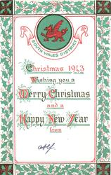 red Welsh dragon in green inset above greeting, green & red holly borders