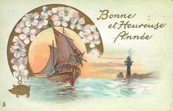 BONNE ET HEUREUSE ANNEE  gilt good luck pig lower left, sailboat left center under arc of blossom, lighthouse right