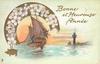 BONNE ET HEUREUSE ANNEE  gilt good luck pig lower left, sailboat left center under arc of blossom, lighthouse right