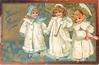 BONNE ANNEE three girls in white, middle one holds umbrella, right wears muff