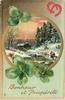 BONHEUR ET PROSPERITE  round inset, snow scene, two people approaching distant watermill, two red horseshoes upper right