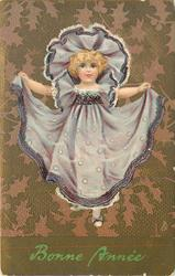 BONNE ANNEE  girl holds her purple dress with outstretched arms
