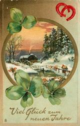 VIEL GLUCK ZUM NEUEN JAHRE  round inset, snow scene, two people approaching distant watermill,  two red horseshoes upper right