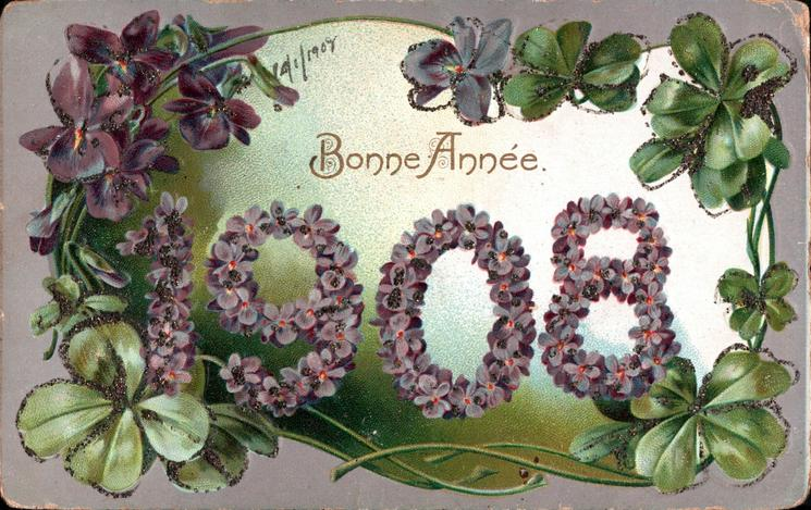 BONNE ANNEE  numbers of 1908 in purple violets