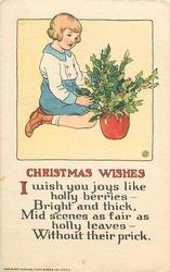 CHRISTMAS WISHES, I WISH YOU JOYS LIKE HOLLY BERRIES- BRIGHT AND THICK, MID SCENES AS FAIR AS HOLLY LEAVES- WITHOUT THEIR PRICK