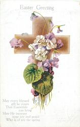 EASTER GREETING  white & purple violets