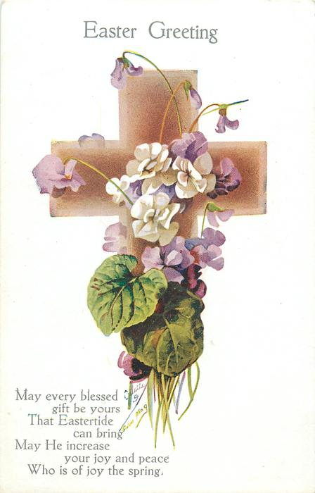 EASTER GREETING  purple and white violets on cross