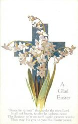 A GLAD EASTER  white flowers, blue cross
