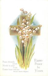 EASTER PEACE BE YOURS  lilies-of-the-valley, brown cross