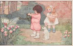 MAY YOUR HEART BE JOYOUS THIS EASTER DAY  one child waters tulips, one carries rabbit, another rabbit sits