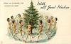 WITH ALL GOOD WISHES, HERE WE GO ROUND THE CHRISTMAS TREE!  stick-dolls dance around Xmas tree