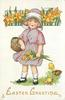 EASTER GREETING  girl carries basket of eggs & bunch of daffodils, three chicks