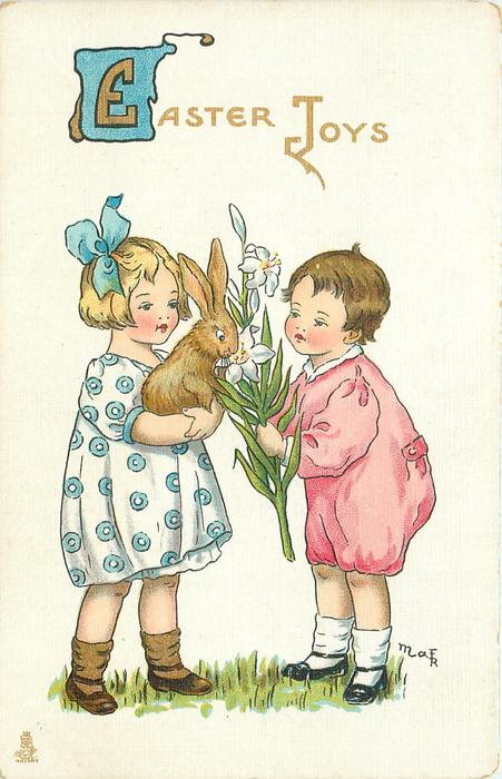 EASTER JOYS  girl holds brown rabbit, boy an EASTER lily