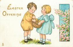 EASTER OFFERING  boy & girl with basket of chicks between them
