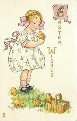 EASTER WISHES  girl picks up chick, four more & basket of eggs below