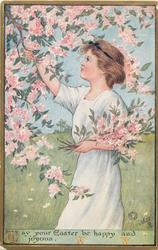 MAY YOUR EASTER BE HAPPY AND JOYOUS  girl picks armful of pink blossom, faces left