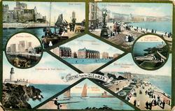 insets of scenes, upper left view PEEL CASTLE (LOCH PROMENADE, DOUGLAS to rhs)