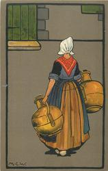 Dutch woman carrying away two large water-jugs