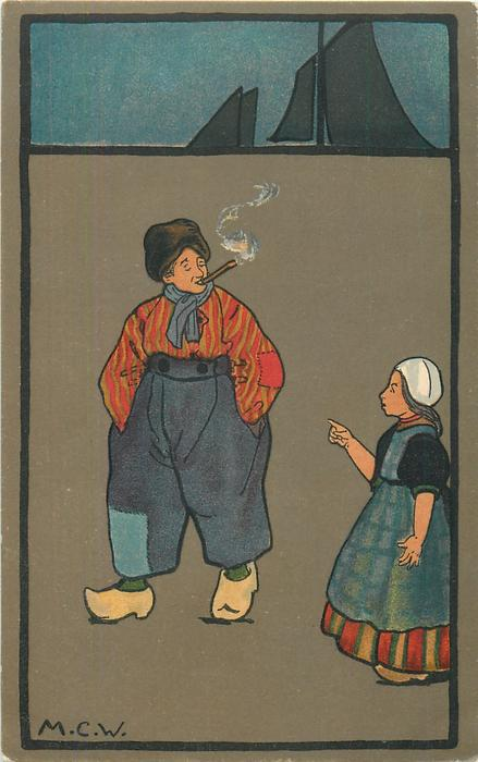 girl points at smoking Dutchman with hands in pockets