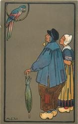man and woman dress in Dutch style, look up at parrot sitting in a ring