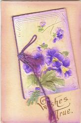 WISHES TRUE  purple pansies on front of book