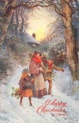 woman with girl and boy carrying holly and gifts