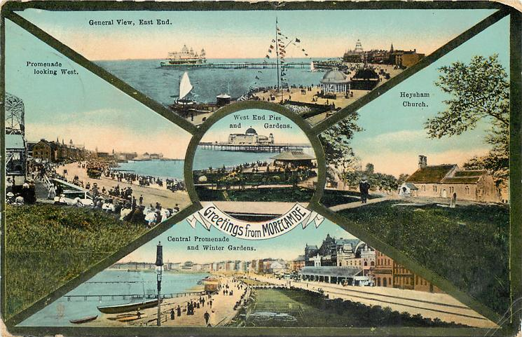 5 insets GENERAL VIEW, EAST END/HEYSHAM CHURCH/CENTRAL PROMENDE AND WINTER GARDENS/PROMENADE LOOKING WEST/WEST END PIER AND GARDENS (in centre)