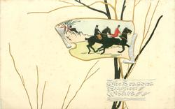 inset of huntsman & huntswoman riding right fast, cream background