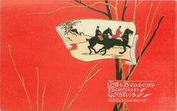inset to right of card of huntsman & huntswoman riding right fast, red background