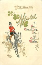 huntswoman riding side saddle on white horse rides front after a jump