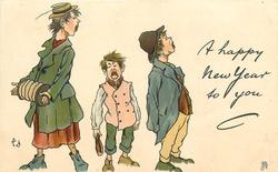 A HAPPY NEW YEAR TO YOU  three urchins sing, facing right from left of card, girl has concertina