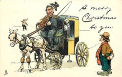 A MERRY CHRISTMAS TO YOU driver of horse-drawn cab has hat knocked off, man below holds snowballs