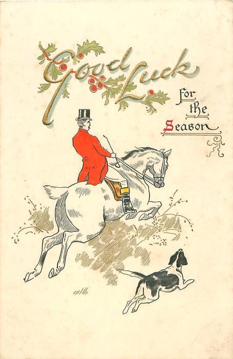 huntsman rides away on white horse taking a jump, foxhound accompanies