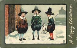 A HAPPY CHRISTMAS  three men sing carols in snow, helped by dog