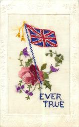 EVER TRUE  Union Jack with flowers, oblong frame