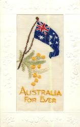 AUSTRALIA FOR EVER  flag over evergreen & flowers