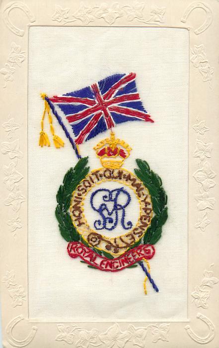 ROYAL ENGINEERS, HONI SOIT QUI MAL-PENSE  inset GR in laurel wreath under crown, British flag on top