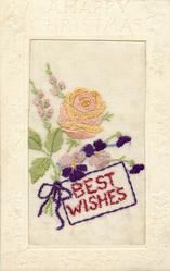 A HAPPY CHRISTMAS  silk BEST WISHES rose above violets