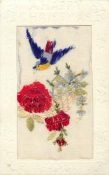 A HAPPY CHRISTMAS  silk bird flies above three roses & forget-me-nots